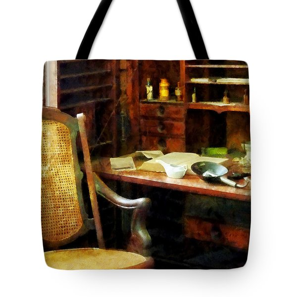 Tote Bag featuring the photograph Doctor - Doctor's Office by Susan Savad