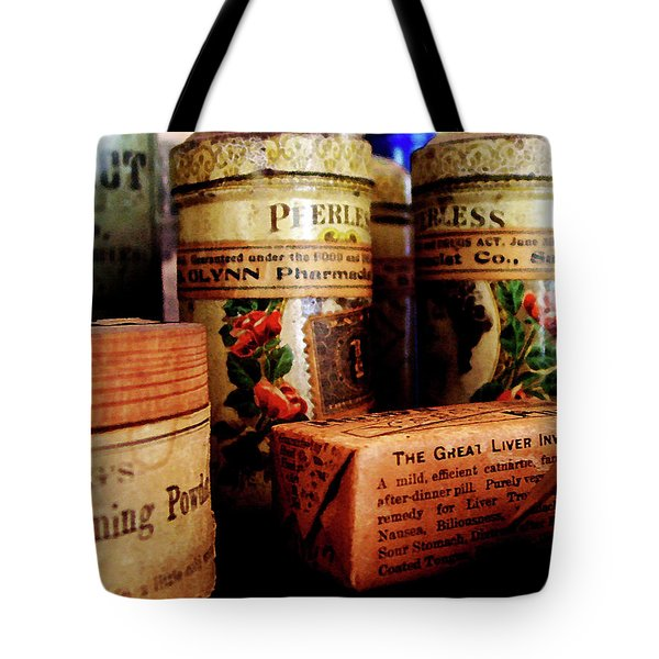 Tote Bag featuring the photograph Doctor - Liver Pills In General Store by Susan Savad