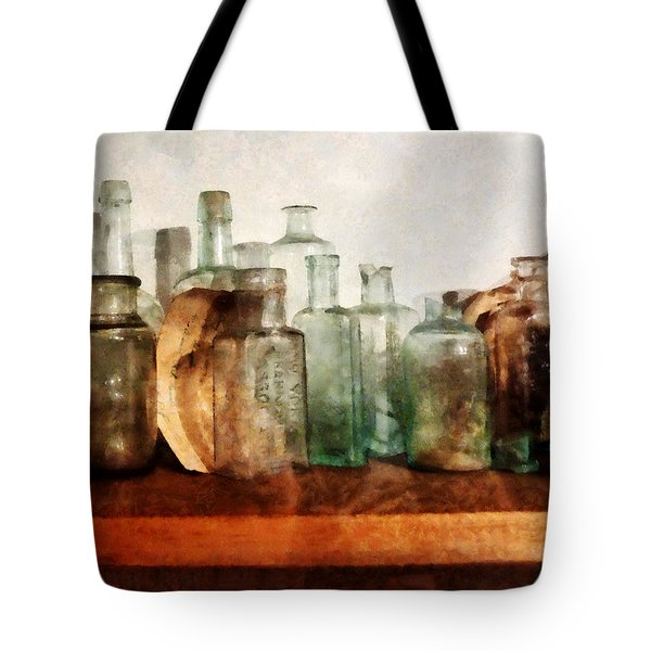 Doctor - Row Of Medicine Bottles Tote Bag by Susan Savad