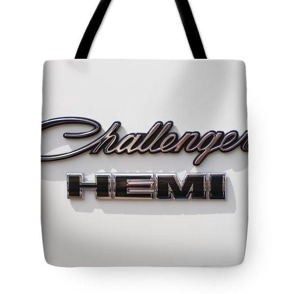 Dodge Challenger Hemi Emblem Tote Bag by Jill Reger