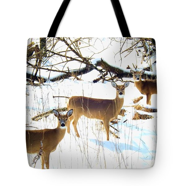 Does In The Snow Tote Bag
