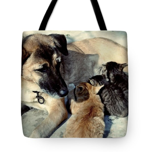 Dog Adopts Kittens Tote Bag by Lanjee Chee