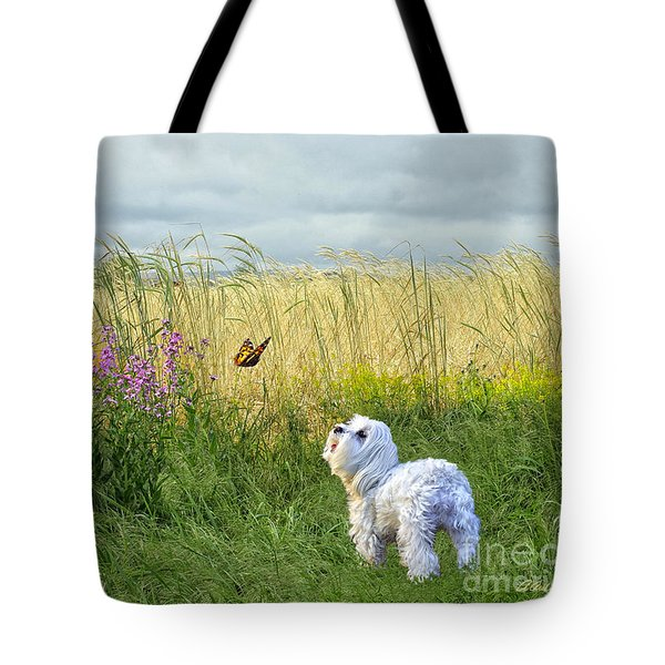 Dog And Butterfly Tote Bag