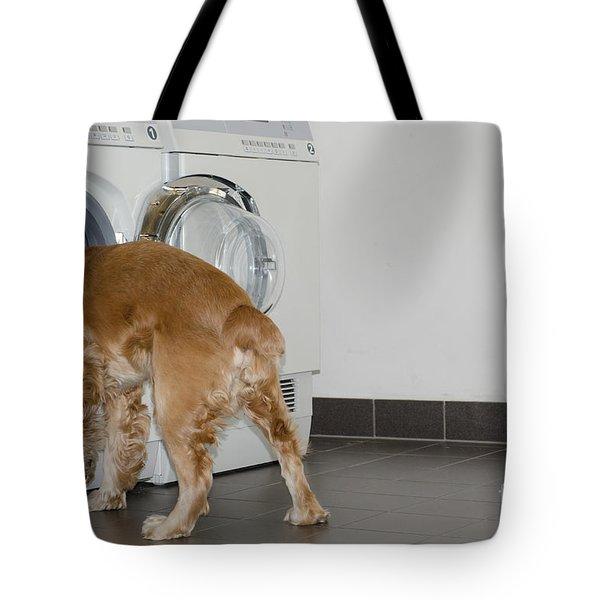 Dog And Washing Machine Tote Bag by Mats Silvan