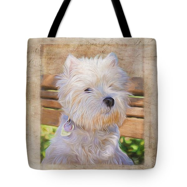 Dog Art - Just One Look Tote Bag by Jordan Blackstone