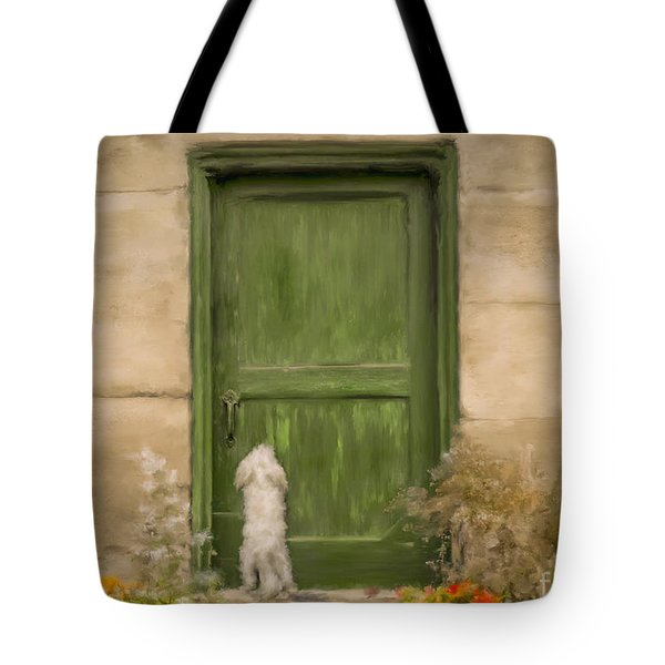 Dog At The Door Tote Bag