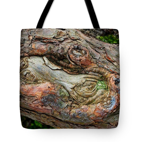 Tote Bag featuring the photograph Dog Bone In The Bark by Gary Slawsky