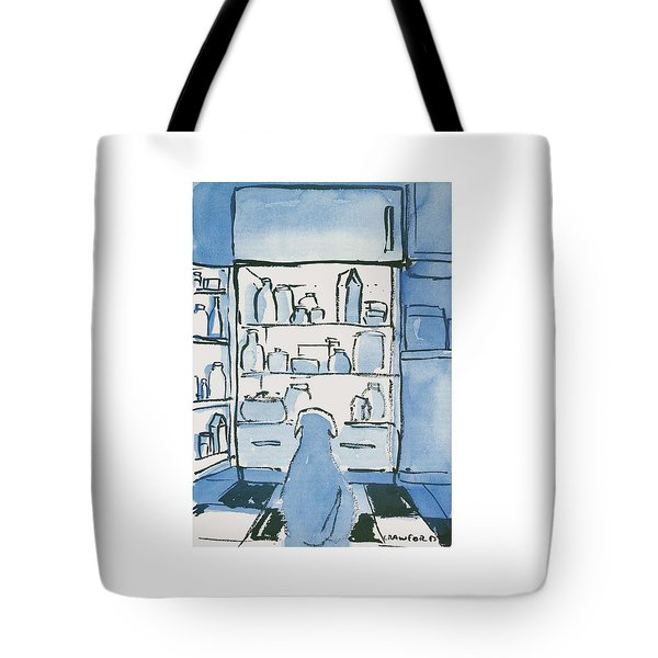 Dog In Front Of An Open Refrigerator Tote Bag