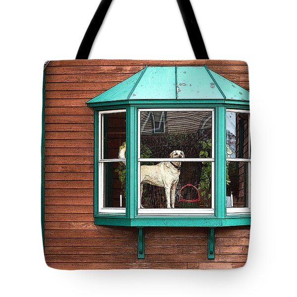 Dog In Window Tote Bag