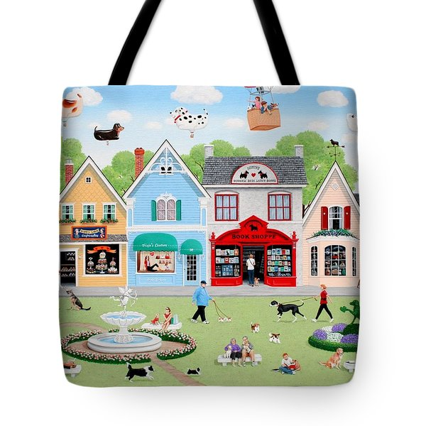 Dog Lovers' Lane Tote Bag by Wilfrido Limvalencia