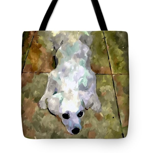 Dog Lying On Floor  Tote Bag by Lanjee Chee