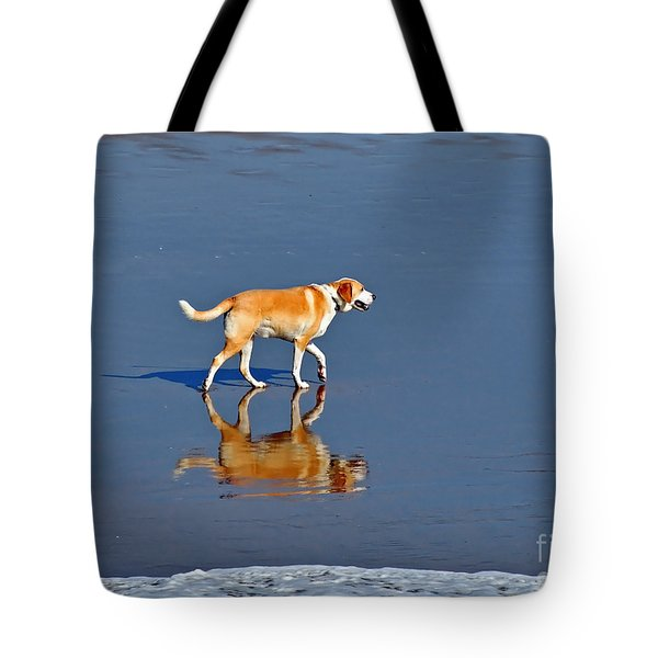Dog On Water Mirror Tote Bag
