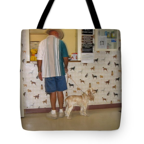 Dog Owner Dog Vet's Office Casa Grande Arizona 2004 Tote Bag by David Lee Guss