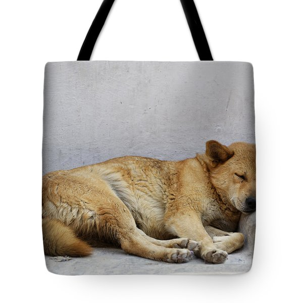 Dog Sleeping Tote Bag