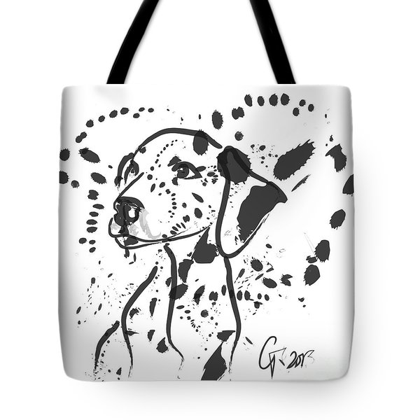 Tote Bag featuring the painting Dog Spot by Go Van Kampen