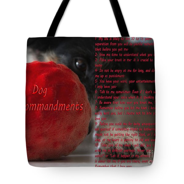 Dog Ten Commandments Tote Bag by Stelios Kleanthous