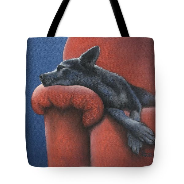 Tote Bag featuring the drawing Dog Tired by Cynthia House