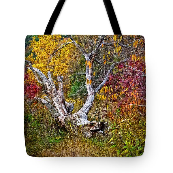 Tote Bag featuring the digital art Dog Tree by Mary Almond