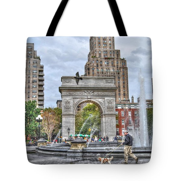 Dog Walking At Washington Square Park Tote Bag by Randy Aveille