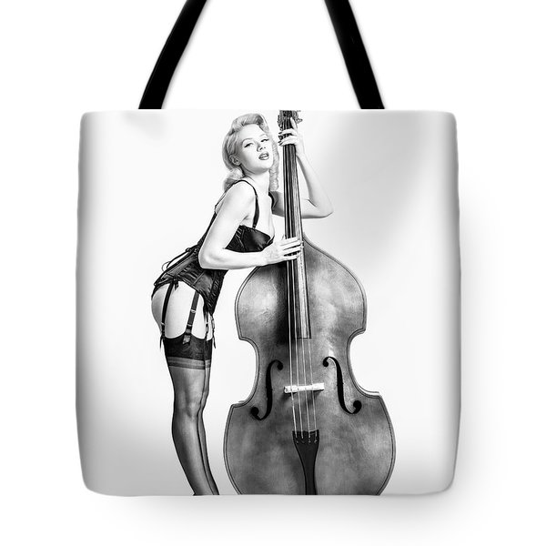 Tote Bag featuring the photograph Doghouse With Mosh - String Bass Baby   by Gary Heller