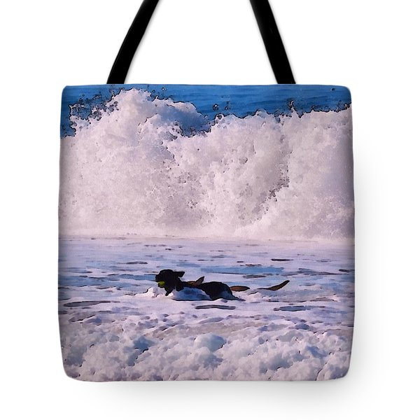 Dogs At Carmel California Beach Tote Bag by Barbara Snyder