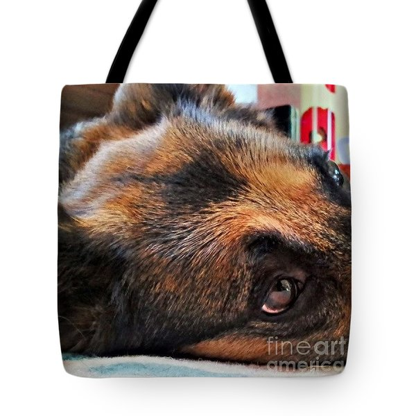 #dogs #pawsforthought #ilovemydog Tote Bag by Isabella F Abbie Shores FRSA