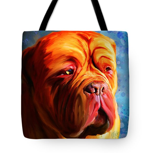 Vibrant Dogue De Bordeaux Painting On Blue Tote Bag by Michelle Wrighton