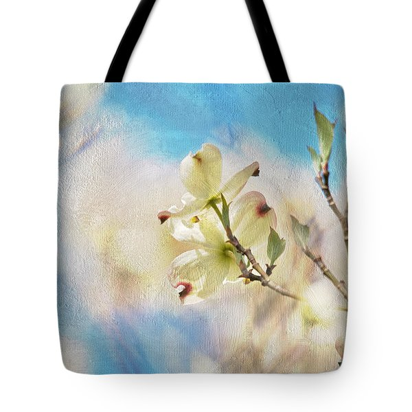 Dogwood Against Blue Sky Tote Bag by Lois Bryan