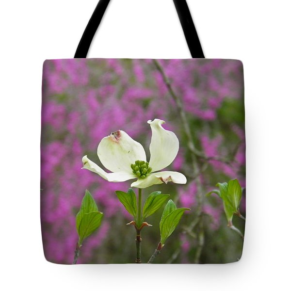 Dogwood Bloom Against A Redbud Tote Bag by Nick Kirby