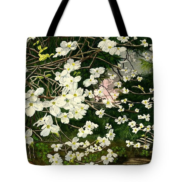 Tote Bag featuring the painting Dogwoods Virginia by Melly Terpening