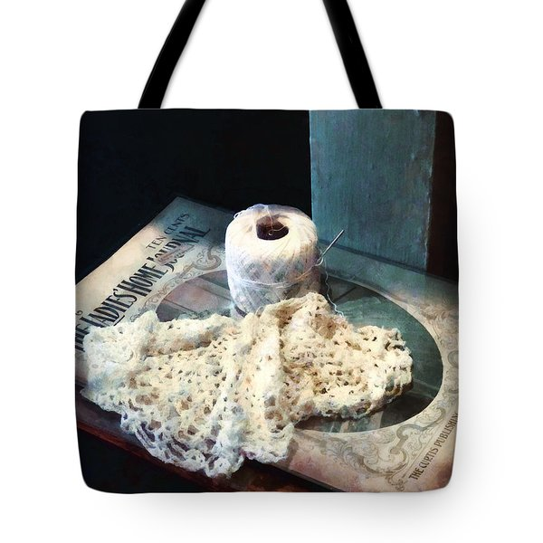 Tote Bag featuring the photograph Doily And Crochet Thread by Susan Savad