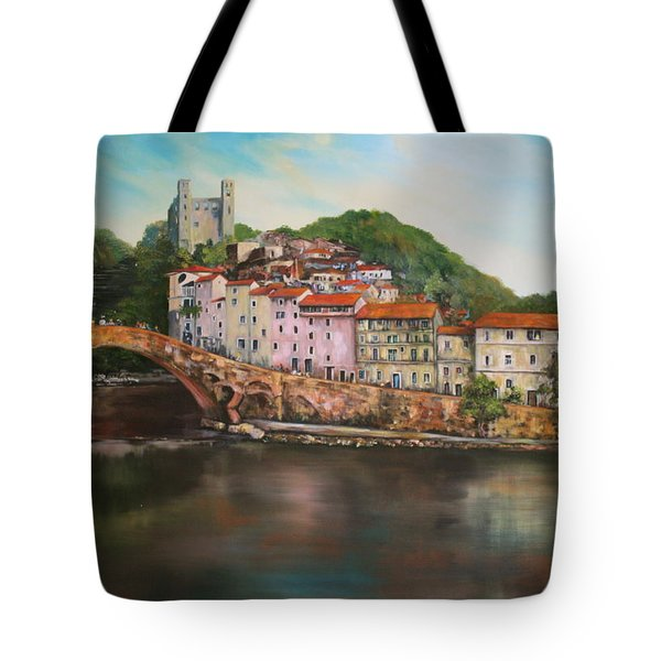 Tote Bag featuring the painting Dolceacqua Italy by Jean Walker