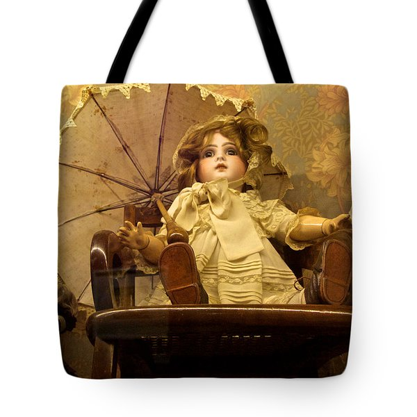 Antique Doll In Chair With Parasol Tote Bag