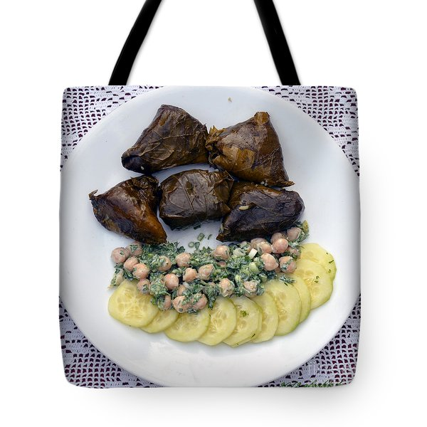 Dolmathes And Garbanzo Salad With Sliced Cucumbers Tote Bag