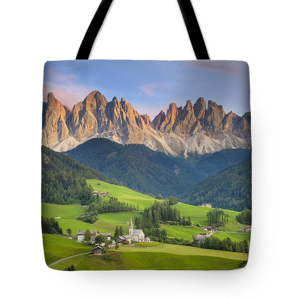 Dolomites From Val Di Funes Tote Bag by Brian Jannsen