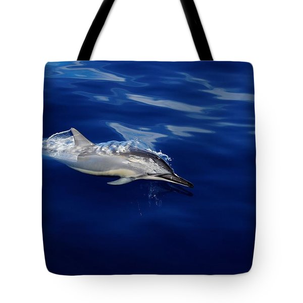 Dolphin Breaking Free Tote Bag by John  Greaves