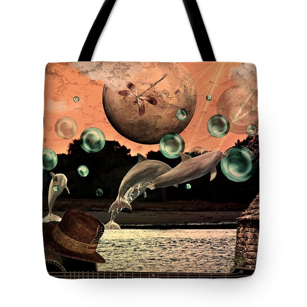 Tote Bag featuring the mixed media Dolphin Dreams by Ally  White