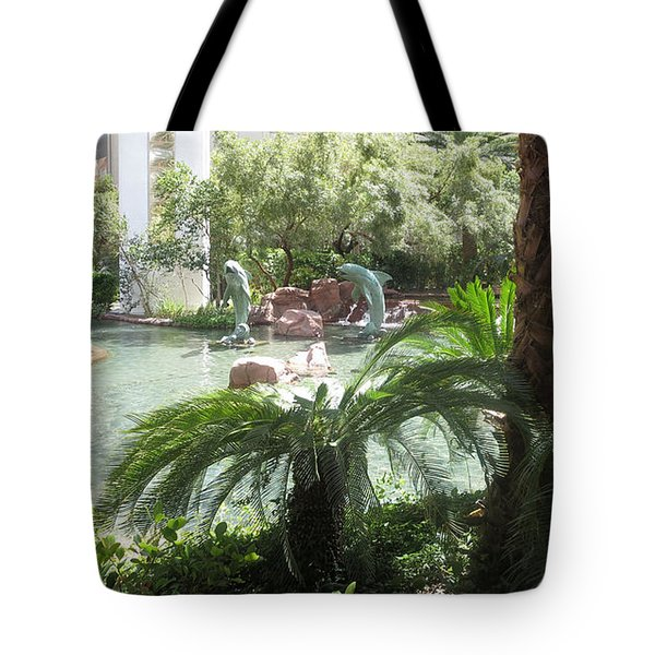 Tote Bag featuring the photograph Dolphin Pond And Garden Green by Navin Joshi