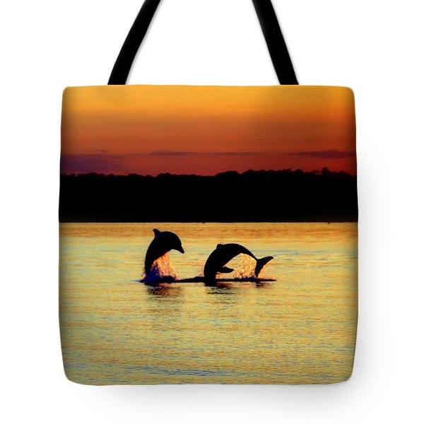 Dolphin Serenade Tote Bag by Karen Wiles
