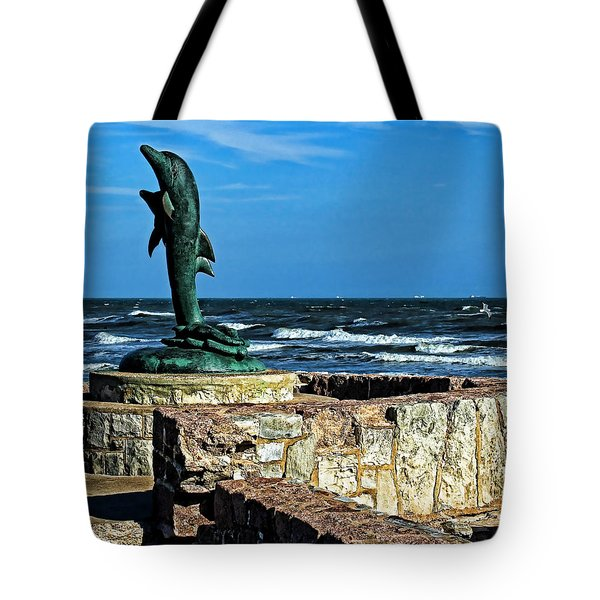 Dolphin Statue Tote Bag by Judy Vincent