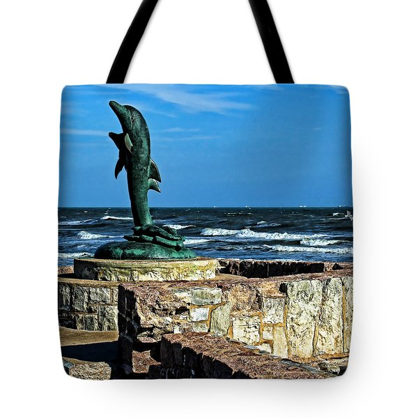 Dolphin Statue Tote Bag