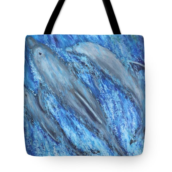 Tote Bag featuring the painting Dolphins At Play by Penny Birch-Williams