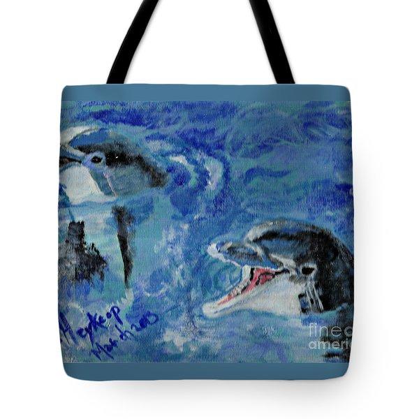 Dolphins Tote Bag by Francine Heykoop