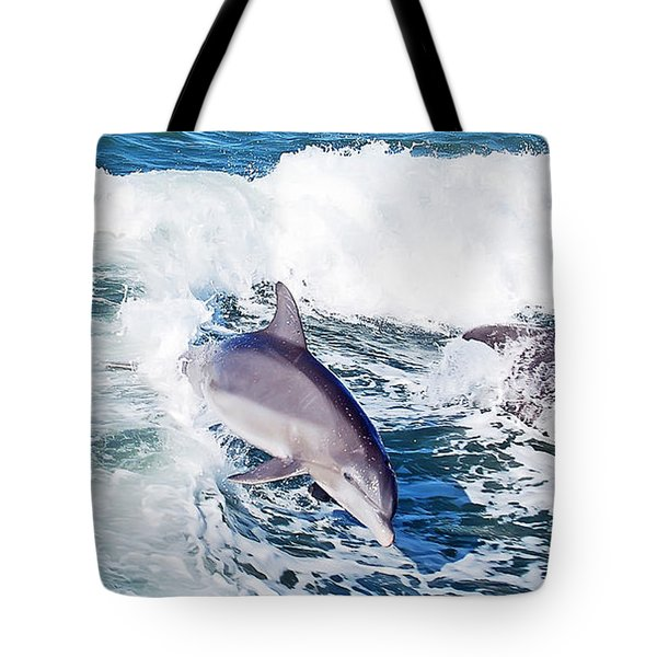 Dolphins Jumping Tote Bag by Aimee L Maher Photography and Art Visit ALMGallerydotcom