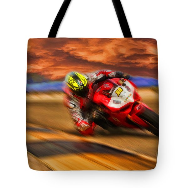 Domenic Caluori At Speed Tote Bag