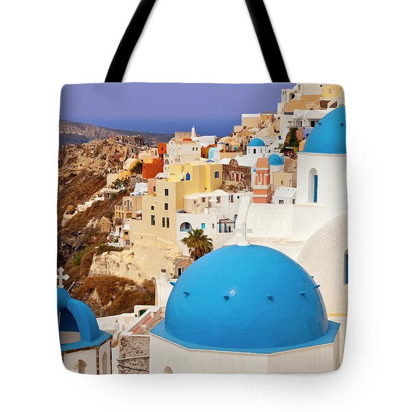 Domes Of Santorini Tote Bag by Brian Jannsen