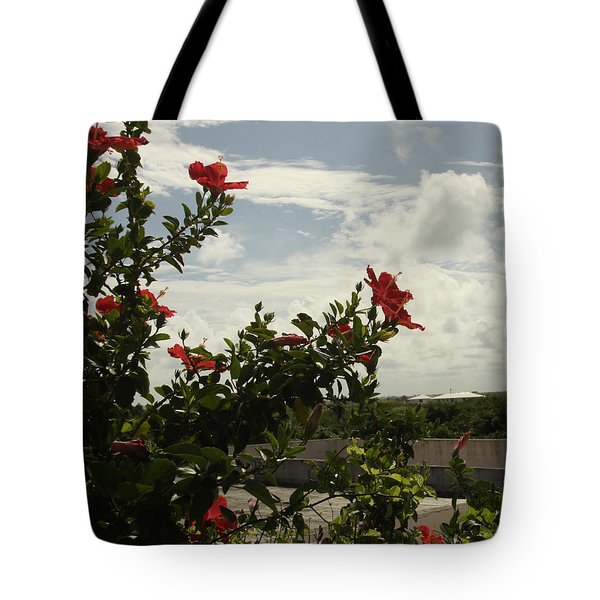 Dominican Red Flower Tote Bag