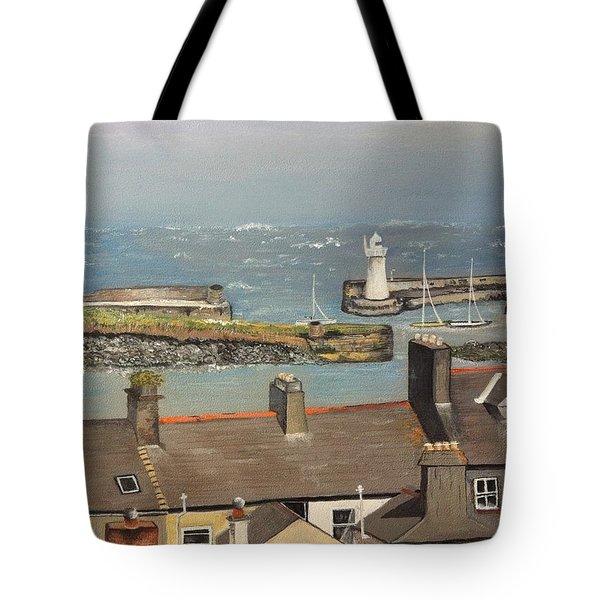Tote Bag featuring the painting Donaghadee Ireland Irish Sea by Brenda Brown