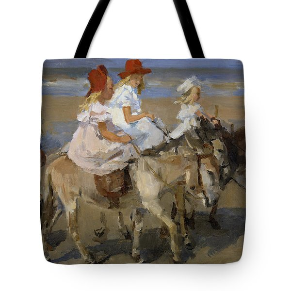 Donkey Rides Along The Beach Tote Bag