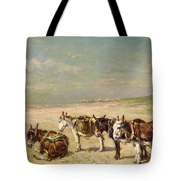 Donkeys On The Beach Tote Bag by Johannes Hubertus Leonardus de Haas